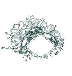 flower card frame engraved sketch monochrome vector image