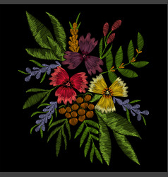 Flowers embroidery for fashion decoration vector
