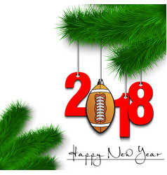 football ball and 2018 on a christmas tree branch vector image