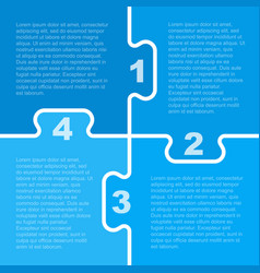 Four blue piece puzzle infographic 4 step vector