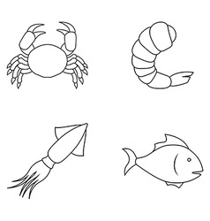 Four seafood icons vector