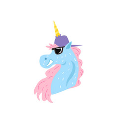 funny unicorn character wearing cap and sunglasses vector image