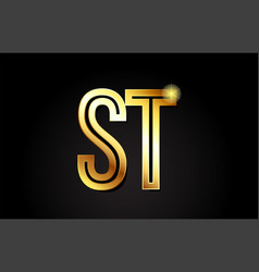 gold alphabet letter st s t logo combination icon vector image