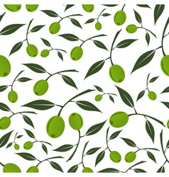Green olives natural seamless white pattern eps10 vector