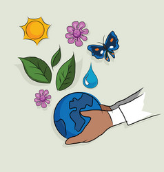 Hand holding globe ecology mother earth concept of vector