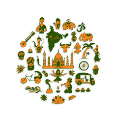 Indian icons circle set vector