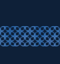 Indigo blue leaf quilt block shapes border vector