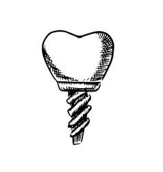 Isolated sketch of a tooth implant vector image