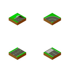 isometric way set of pedestrian earthquake vector image