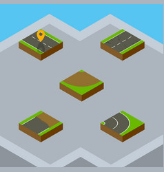 Isometric way set of unfinished cracks asphalt vector