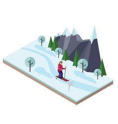 Isometric woman skiing cross country skiing vector