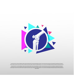Knee bone logo with colorful concept healthcare vector
