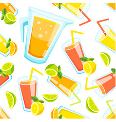 Lemon and lime lemonade seamless pattern vector