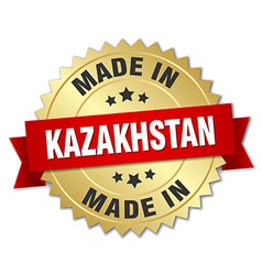 made in Kazakhstan gold badge with red ribbon vector image