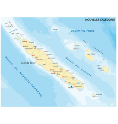 Map new caledonia archipelago vector