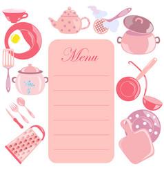 menu leaf with pink color utensils vector image