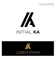 Monogram initial ka ak ak logo template black vector