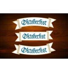 Oktoberfest banner on old wooden texture vector image