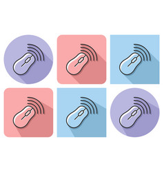 outlined icon of wireless mouse with parallel and vector image