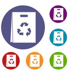 package recycling icons set vector image