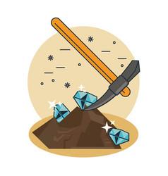 Pickaxe extraction of diamonds vector