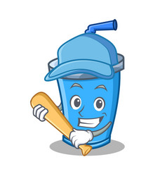Playing baseball soda drink character cartoon vector