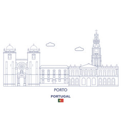 porto city skyline vector image