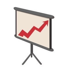 Presentation screen with graph icon cartoon style vector
