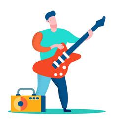 professional guitar player flat color vector image