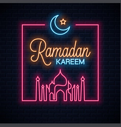 Ramadan kareem neon sign ramadan eid neon vector