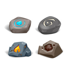 Realistic stones with symbols four e vector