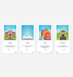 school tools books bus transport cartoon ux ui vector image