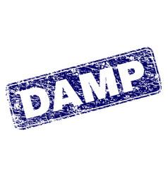 Scratched damp framed rounded rectangle stamp vector