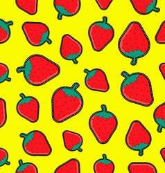 Seamless background with red strawberry patches vector image