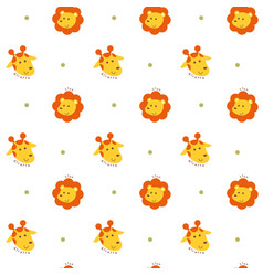 Seamless pattern lion and giraffe vector