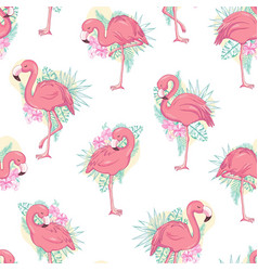seamless pattern with flamingos vector image