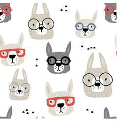 Seamless pattern with funny alpaka in glasses vector