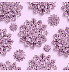 seamless pattern with purple 3d paper flowers vector image