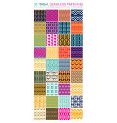 Set 36 tribal seamless patterns vector
