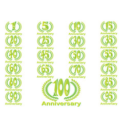 set anniversary badges celebrating banners vector image