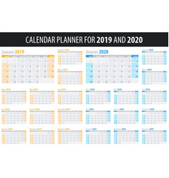 set of calendar planners 2019 and 2020 years in vector image