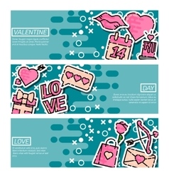 Set of Horizontal Banners about Valentines Day vector image
