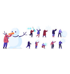 set people playing with snow tiny male and vector image