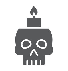 skull with candle glyph icon spooky and decor vector image