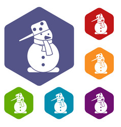Snowman icons set vector