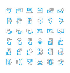 Social network media thin line icon set vector