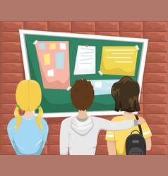 Students stand in front bulletin board vector