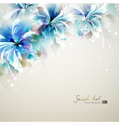 Tender background with blue abstract flowers vector
