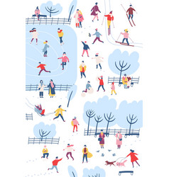 tiny people dressed in winter clothes or outerwear vector image