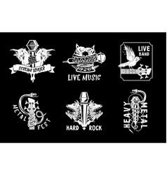 vintage music emblem tattoo style vector image